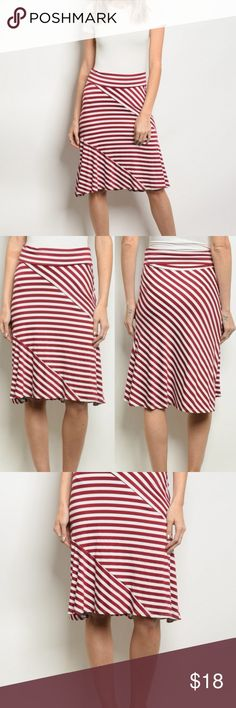 "Cute skirt with burgundy/white stripes Fold over striped midi skirt, nice stretch.  Modern meets 1940's/1950's retro.  Perfect with a solid tank or tee.  Made in USA, Jersey: 48% Polyester, 48% Rayon, 4% Spandex.  Adjust the length by adjusting the fold at the waist.  Office/career/work/casual/professional/cute skirt/date night  Waist across: S-14""  M-14.5""  L-15.5"" Length:  S-22""  M-23""  L-23.5""  Boutique prices are firm, unless bundled...then offers welcome. Skirts Midi"