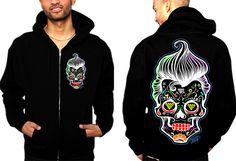 Men's Rocka Skull Zip Hoodie by 2K2BT