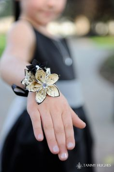 Handmade Origami Paper Flower Wrist Wrapped Corsage- bridal, prom, bridesmaids, mother of the bride, accessory. $15.00, via Etsy.