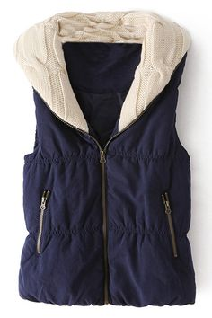 Zippered Panel Blue Vest