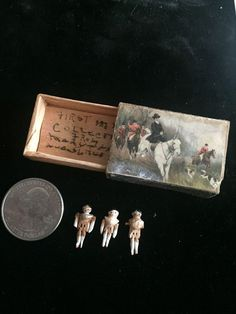 """Tiny """"smallest doll in the world"""" 3 antique peg wooden dolls early 1900s"""