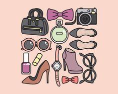 Premium Vector Clipart Pretty Accessories by LookLookPrettyPaper Vector Clipart, Cute Clipart, Doodle Books, Doodle Art, Doodle Ideas, Fashion Clipart, Episode Backgrounds, Small Icons, Clip Art