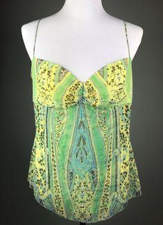 60c22c1548f37 My Elie Tahari Green Yellow Silk Cami Blouse Top Size L 12 14 by Elie Tahari