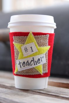 Teacher Gift - Teacher Appreciation - Coffee Cozie - Coffee Cozy - Stocking Stuffer - Christmas - Valentines Day via Etsy