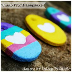 Easter Keepsakes for Kids. Thumbprint Heart Keepsakes. Learning and Exploring Through Play.