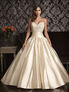 Satin Sweetheart Ballgown with Ruched Waistband & Pleated Skirt