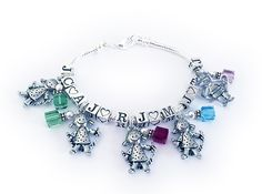 Snake Bracelet with 5 kid charms and 5 initials and 5 birthstone crystal charms