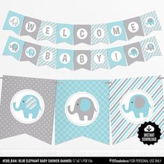 Pink Elephant Baby Shower Banner - Girl Baby Banner - Pink and Gray Baby Shower Decorations - Baby Girl Decor - Printable Garland Baby Shower Azul, Baby Shower Bunting, Grey Baby Shower, Shower Bebe, Girl Baby Shower Decorations, Shower Banners, Baby Decor, Girl Decor, Boy Shower