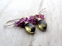 Lemon Quartz Topaz Earrings 14K Gold Fill