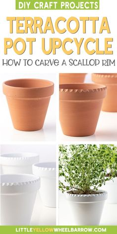 Jazz up any simple terracotta pot with a pretty textured scallop edge. This simple trick will show you how to carve textured rims into any size terracotta pot. A cheap dollar store project that looks like you had them custom made. This easy craft project makes for a great weekend DIY. We even have the best tip for painting and turning terracotta into a ceramic looking planter. A great little project for a window sill herb garden or small indoor plants. Easy Craft Projects, Diy Home Decor Projects, Easy Crafts, Decor Ideas, Garden Projects, Diy Ideas, Easy Diy, Craft Ideas, Small Indoor Plants