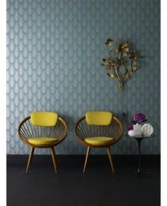 Teal wallpaper Elixir Graham & Brown- love the yellow chairs great contrast with the blue wallpaper