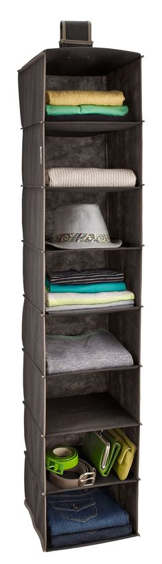 Features:  -8-Shelf organizer maximizes vertical hanging space.  -Versatile hook and loop fastener can hang on a wire shelf or standard closet rod.  -Shelves feature bamboo reinforced slats.  -Ideal f
