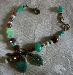 Mixed Media Gypsy Bracelet  Green and Rust by Vintagearts on Etsy, $30.00