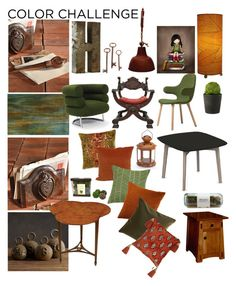 """Decorating: Moss and Rust"" by taci42 ❤ liked on Polyvore featuring interior, interiors, interior design, home, home decor, interior decorating, &Tradition, HomArt, Universal Lighting and Decor and Dot & Bo"