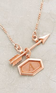 Rose Gold Arrow Initial Necklace #mothersday
