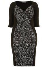 Scarlett & Jo Grey Jacquard Side Panel Dress