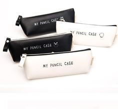 Classic Black and White PU Leather Pencil Case