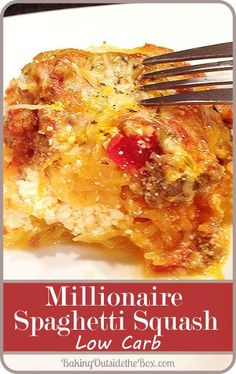 This Millionaire Spaghetti Squash recipe is sure-fire comfort food for a low carb diet. It makes a large pan and your family will love it. (Cheese Making Low Carb) High Carb Foods, Low Carb Diet, Keto Foods, Zucchini Zoodles, Zucchini Squash, Tostadas, Low Carb Recipes, Healthy Recipes, Rub Recipes