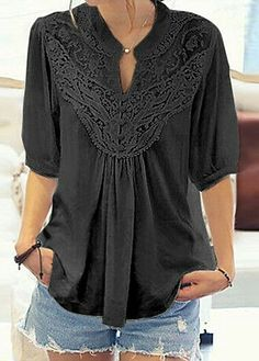 Black Half Sleeve Lace Panel Blouse from Rosewe