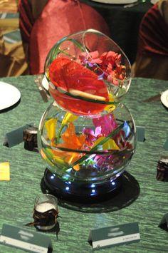 tropical Flower Arrangements Centerpieces | double bubble bowl with tropicals and LEDs