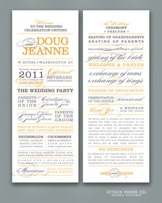 Wedding Program Long Block Text Words PDF - one sided @Rachel Celsor I like this. what do you think? Maybe different colors