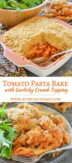 This Tomato Pasta Bake with Garlicky Crumb Topping is a budget friendly, hearty & delicious meal that the whole family will love! via @avirtualvegan