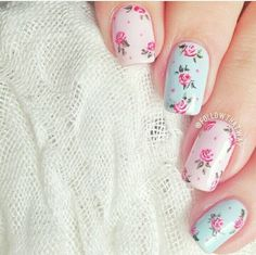 60 Spring Floral Nail Art Designs and Ideas Colors Cute Nail Art, Cute Nails, Pretty Nails, Pastel Nails, Pink Nails, Nail Art Designs, Nail Designs Floral, Nails Design, Vintage Nails