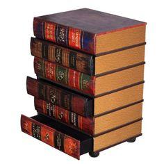 Kleinmöbel, HY1E034 Kommode, schweres Regal im Buchlook, Teeschrank, Holz Telefontisch, Kommode, jedes Buch ist eine Schublade, 6 Schubladen, Flurkommode, Tisch, im Vintage Shaby Look, Antikoptik, Holz, Maritim, Deko, Hochwertig, 64 cm hoch 36 cm tief und 45 cm breit