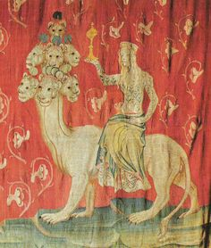 Tapestry, Nicolas Bataille. Apocalypse of Angers, France, 1373-1387. The Woman Riding the Beast.