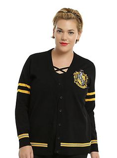 Harry Potter Hufflepuff Girls Cardigan Plus Size, BLACK