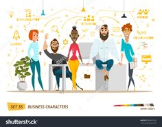 Business Characters Scene. Teamwork In Modern Business Office. Stock Vector Illustration 389591002 : Shutterstock
