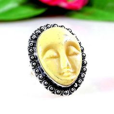 A+++ FACE CARVED GEMSTONE 925 STERLING SILVER RING R-9.5 22783 | eBay