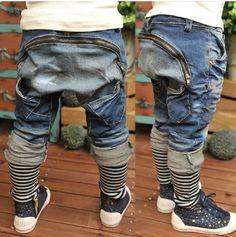 New Arrival Fashion Big Zipper Pocket Patchwork Striped Boys Denim Harem Jeans
