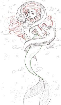 Awesome Little Mermaid art Mermaid Drawings, Mermaid Tattoos, Mermaid Art, Mermaid Sketch, Disney And More, Disney Love, Disney Magic, Disney Sketches, Disney Drawings