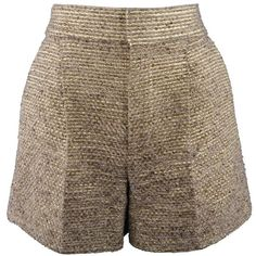 Preowned Chloe Size 2 Metallic Gold & Beige Wool / Silk Striped Tweed... (1,555 MYR) ❤ liked on Polyvore featuring shorts, brown, hot pants, brown high waisted shorts, micro shorts, mini shorts, hot shorts and high waisted short shorts