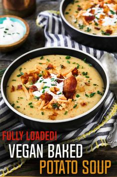 This Vegan Baked Potato Soup is creamy, cheesy, smoky & fully loaded with veganized classic toppings. This Vegan Baked Potato Soup is creamy, cheesy, smoky & fully loaded with veganized classic toppings. It's pure comfort in a bowl! Vegan Baked Potato, Vegan Potato Leek Soup, Loaded Baked Potato Soup, Healthy Soup Recipes, Vegan Dinner Recipes, Vegan Dinners, Whole Food Recipes, Easy Recipes, Keto Recipes