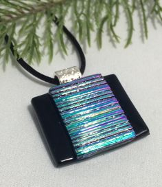 Dichroic Aqua and Violet Fused glass Pendant by UniqueGlassTreasures Dichroic Glass Jewelry, Fused Glass Art, Glass Earrings, Glass Pendants, Stained Glass, Glass Fusion Ideas, Glass Fusing Projects, Polymer Clay Jewelry, Biscuit