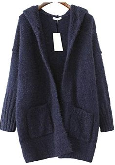 AZIZY Winter Casual Hooded Shaggy Pockets Navy Knit Cardigan Loose Sweater Coat *** Click image to review more details.