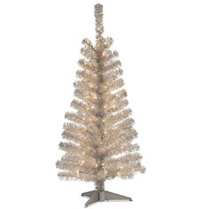 Create a unique, colorful, shimmery look, with the Tinsel Pre-Lit Christmas Tree from National Tree Company. This tree shimmers with 110 tinsel tips that reflect light from the pre-lit 70 incandescent bulbs for a shiny and fun holiday atmosphere. Christmas Tree Clear Lights, Pre Lit Christmas Tree, Silver Christmas Tree, Christmas Decorations, Silver Decorations, Christmas Windows, Cheap Christmas, Retro Christmas, Christmas Goodies