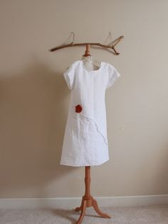 white linen dress with rust flowers