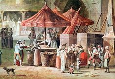 The Place de l'Apport-Paris in Front of the Grand Chatelet, detail of market traders and street performers, before 1802 (w/c & gouache on paper) by Thomas Naudet