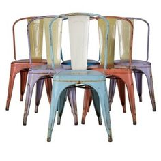 Set of six tolix chairs in original paint c.1950. http://www.lorfordsantiques.com/product/set-of-six-tolix-chairs