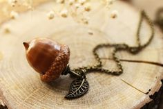Real acorn necklace Peter pan kiss necklace by RubyRobinBoutique