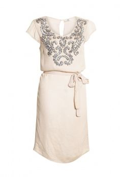Embellished Cap Sleeve Dress With Tie