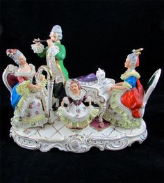 Large Antique Dresden Lace Musical Figure Group w/ Instruments #dresden #antique #musical