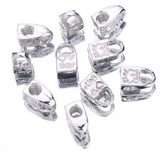 Silver Pink Lock European Charms Charm Loose beads Stopper fit Bracelet