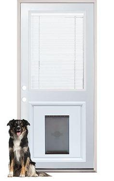 Door-inset doggy door. Internal Miniblind Back Door with Pet Doggy Door Pre-Installed.