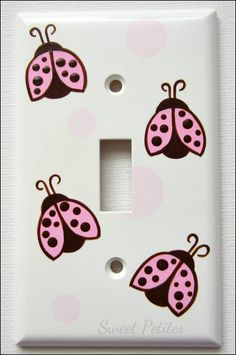 Hand Painted Switch Plate Cover Pink and Brown Ladybugs with Polka Dots