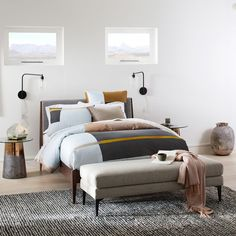 West Elm offers modern furniture and home decor featuring inspiring designs and colors. Create a stylish space with home accessories from West Elm. Blue Bedroom, Cozy Bedroom, Bedroom Apartment, Bedroom Ideas, Scandi Bedroom, Bedroom Inspiration, Master Bedroom, West Elm Headboard, Oversized Furniture