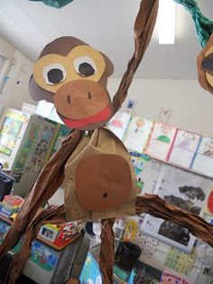 Monkey for the rainforest. Cute for Jungle theme class Jungle Theme Classroom, Art Classroom, Classroom Themes, Future Classroom, Rainforest Theme, Brazil Rainforest, Rainforest Activities, Rainforest Project, Rainforest Habitat